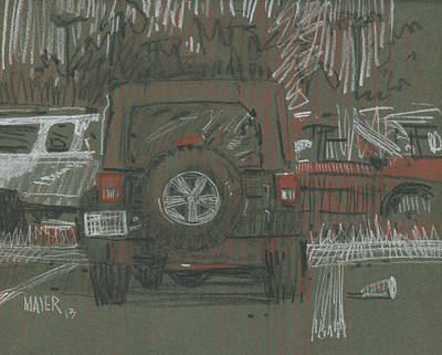 Jeep Drawing - Green Jeep by Donald Maier