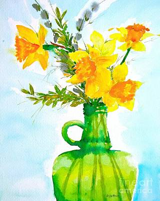 Painting - Bert's Green Jug Of Daffodils  by Nancy Patterson
