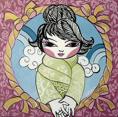 Little Child Painting - Green Kimono by Cris Pires