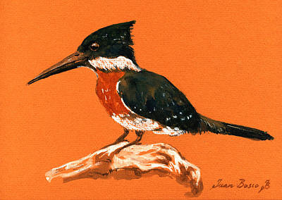 Kingfisher Painting - Green Kingfisher by Juan  Bosco