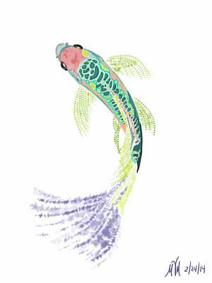 Koi Digital Art - Green Koi by Myra Miller