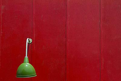 Green Lamp Red Wood Art Print