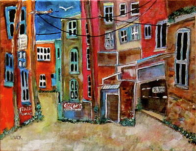 Outremont Painting - Green Laneway by Michael Litvack