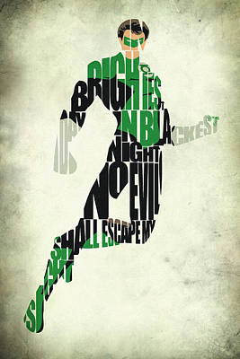 Typographic Digital Art - Green Lantern by Ayse and Deniz