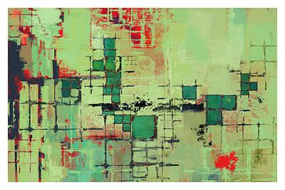 Green Lattice Abstract Art Print Art Print by Karyn Lewis Bonfiglio