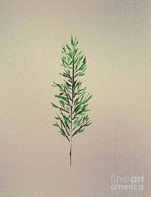 Contemporary Abstract Drawing - Green Leaves by John Krakora