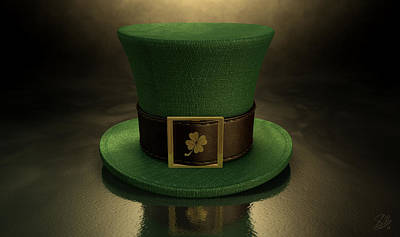 Four Leaf Clover Digital Art - Green Leprechaun Shamrock Hat by Allan Swart