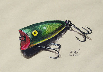 Eyes Detail Drawing - Green Lure by Aaron Spong