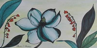 Magnolia Flower Drawing - Green Magnolia by Paula Peltier