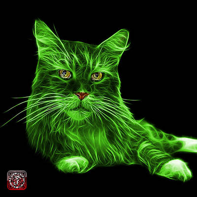 Painting - Green Maine Coon Cat - 3926 - Bb by James Ahn