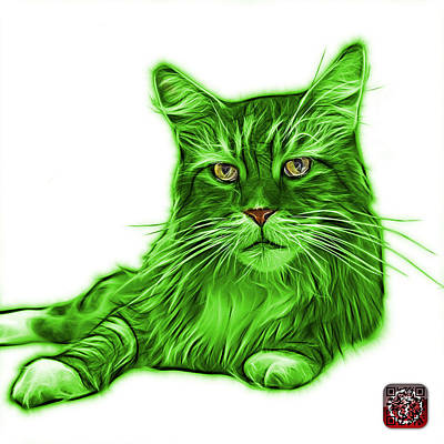 Painting - Green Maine Coon Cat - 3926 - Wb by James Ahn