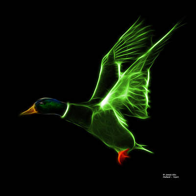 Mixed Media - Green Mallard Pop Art - 7664 - Bb by James Ahn