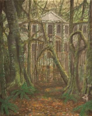 Hunger Games Painting - Green Mansion Original Sold by Larry Lamb