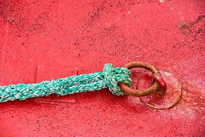 Green Marine Rope On Red Ship Art Print by Matthias Hauser