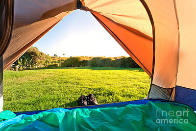 Clear Shoes Photograph - Green Meadow And Forest Seen Thru Open Tent Door by Stephan Pietzko