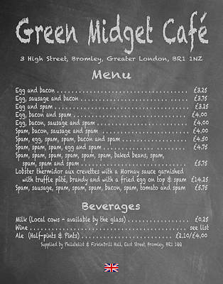 Green Midget Cafe Chalkboard Menu Art Print by Robert J Sadler