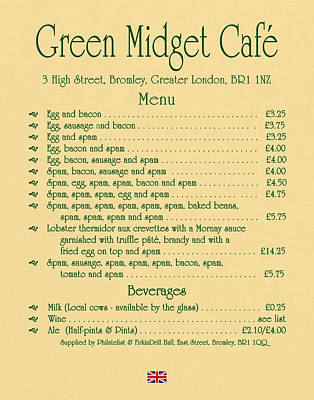 Green Midget Cafe Menu Parchment Art Print by Robert J Sadler