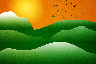 Interior Scene Mixed Media - Green Mountain Sunrise Landscape Art by Christina Rollo