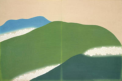 Nature Abstract Drawing - Green Mountains., Kamisaka, Sekka, Artist by Artokoloro