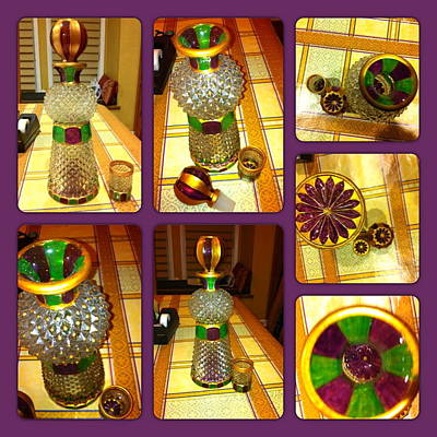 Glass Art - Green N' Purple by Rae Chichilnitsky