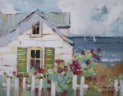 Picket Fence Painting - Green Nantucket Shutters by Joyce Hicks
