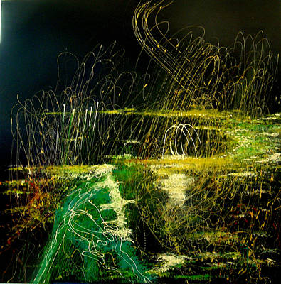 Nightlight Painting - Green Nightlights by Rosemarie Temple-Smith