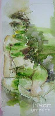 Painting - Green Nude Lady by Donna Acheson-Juillet