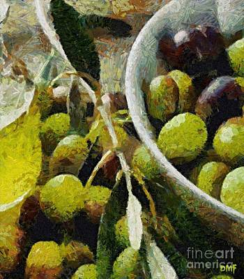 Stil Life Painting - Green Olives by Dragica  Micki Fortuna