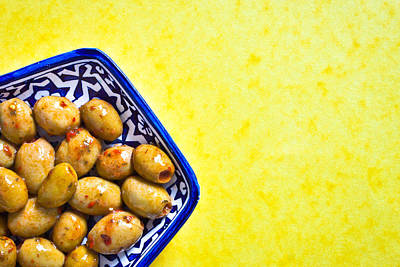 Salad Oil Photograph - Green Olives by Tom Gowanlock