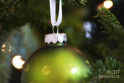 Green Ornament Hanging In Tree Art Print by Birgit Tyrrell