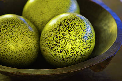 Ostrich Photograph - Green Ostrich Eggs In A Hard Wood Bowl by Jen Judge