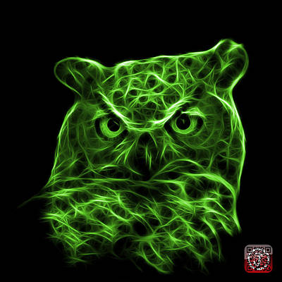 Digital Art - Green Owl 4436 - F M by James Ahn