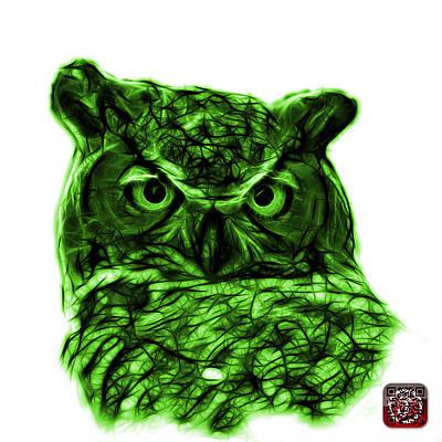 Digital Art - Green Owl 4436 - F S M by James Ahn