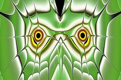 Black Digital Art - Green Owl by Anastasiya Malakhova