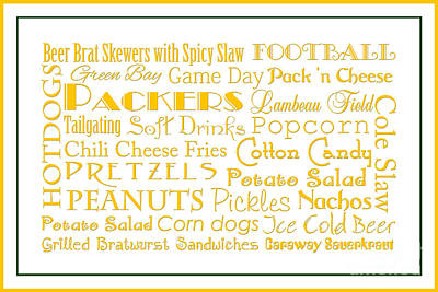 Green Packers Game Day Food 3 Art Print by Andee Design