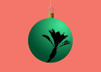 Digital Art - Green Palm Tree Christmas Tree Ball Ornament by Stan  Magnan