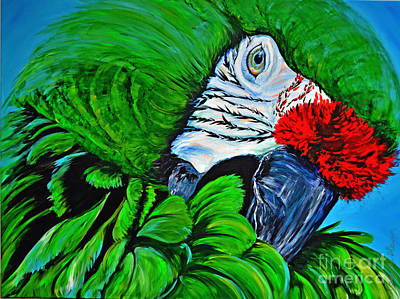 Caribbean Abstract Painting - Green Parrot by Paola Correa de Albury