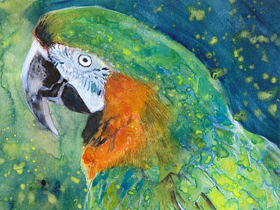 Macaw Mixed Media - Green Parrot With Blue by Susan Powell