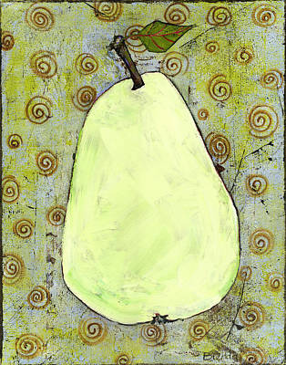 Stillife Painting - Green Pear Art With Swirls by Blenda Studio