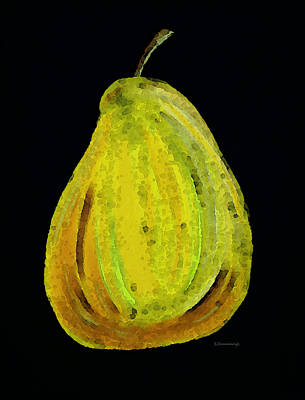 Chef Painting - Green Pear - Contemporary Fruit Art Food Print by Sharon Cummings