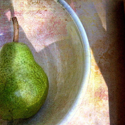 Photograph - Green Pear With Flowered Background Still Life  by Louise Kumpf