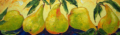 Green Pears In A Row Art Print