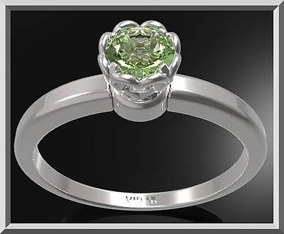 Custom Engagement Ring Jewelry - Green Peridot Sterling Silver Engagement Ring - Delicate Flower Ring by Roi Avidar