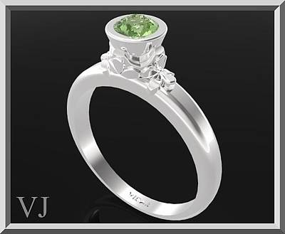 Gemstone Engagement Ring Jewelry - Green Peridot Sterling Silver Engagement Ring by Roi Avidar