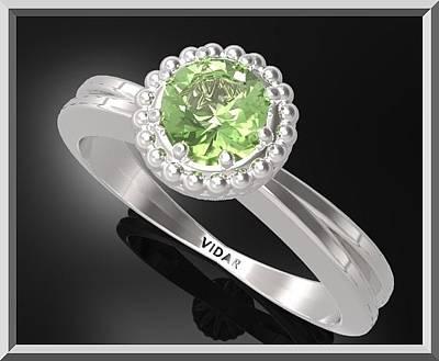 Custom Engagement Ring Jewelry - Green Peridot Sterling Silver Engagement Ring With Little Silver Balls by Roi Avidar