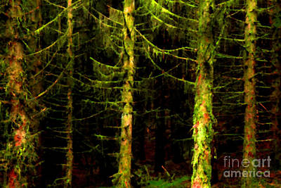 Verdant Digital Art - Green Pine Forest by Thomas R Fletcher