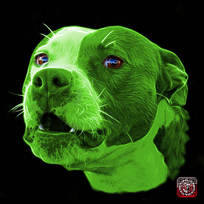 Mixed Media - Green Pitbull Dog 7769 - Bb - Fractal Dog Art by James Ahn