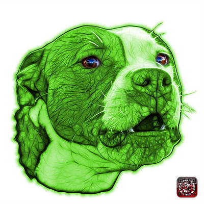 Mixed Media - Green Pitbull Dog Art - 7769 - Wb - Fractal Dog Art by James Ahn