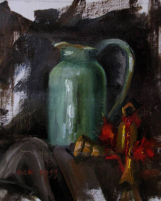 Green Pitcher And Bells Art Print