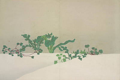 Nature Abstract Drawing - Green Plants., Kamisaka, Sekka, Artist by Artokoloro